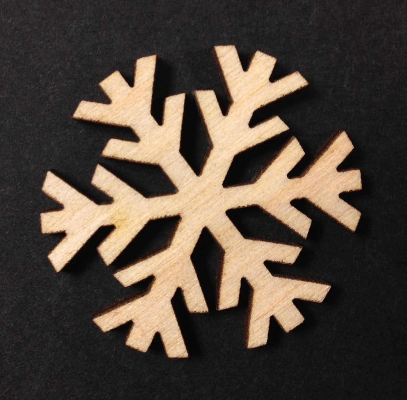 Mini Wooden Snowflakes Xmas Decoration 30mm Pack Of 10